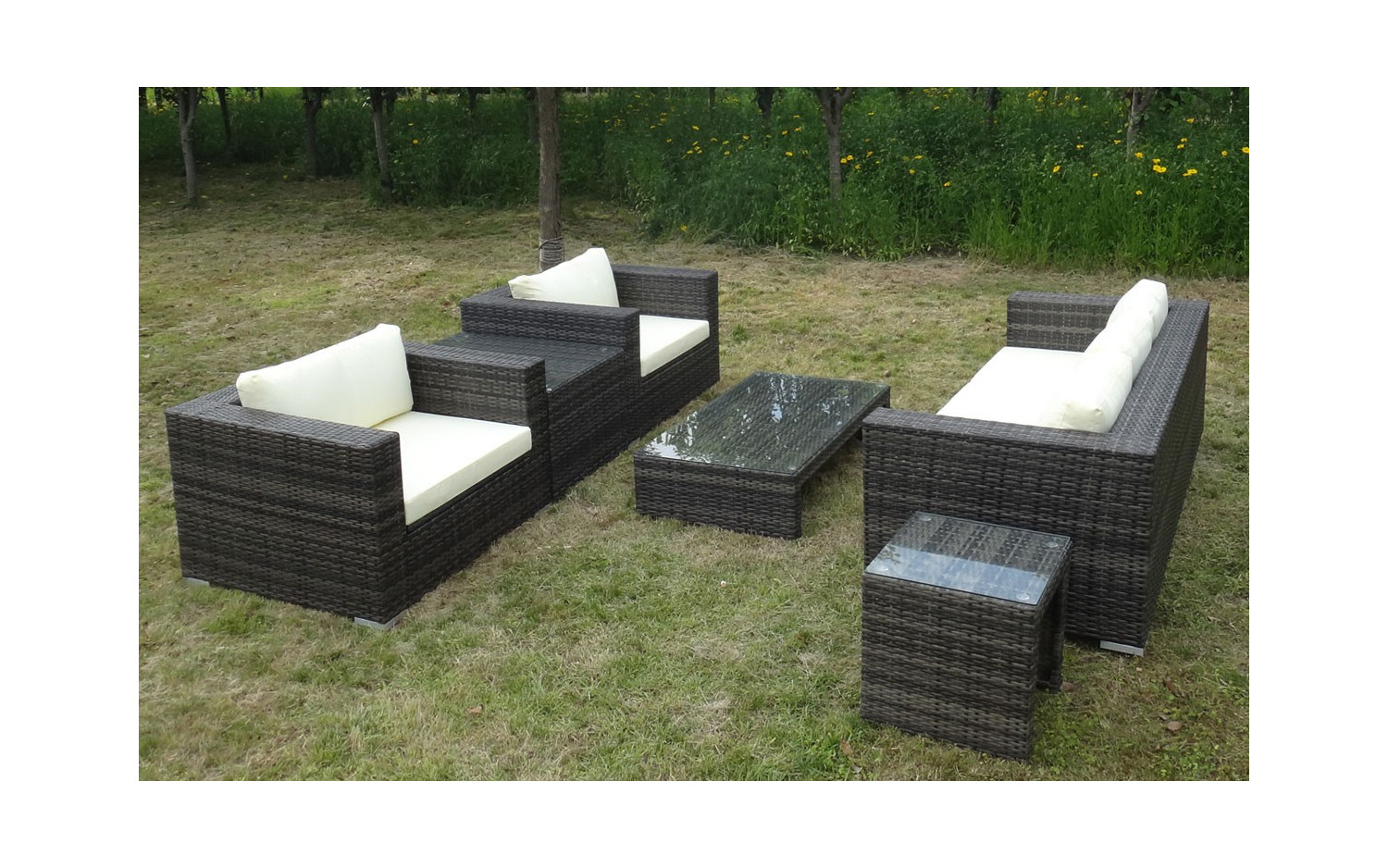 sitzlounge rattan braunbel with sitzlounge rattan enorm balkonmbel rattan moderne gartenm c. Black Bedroom Furniture Sets. Home Design Ideas
