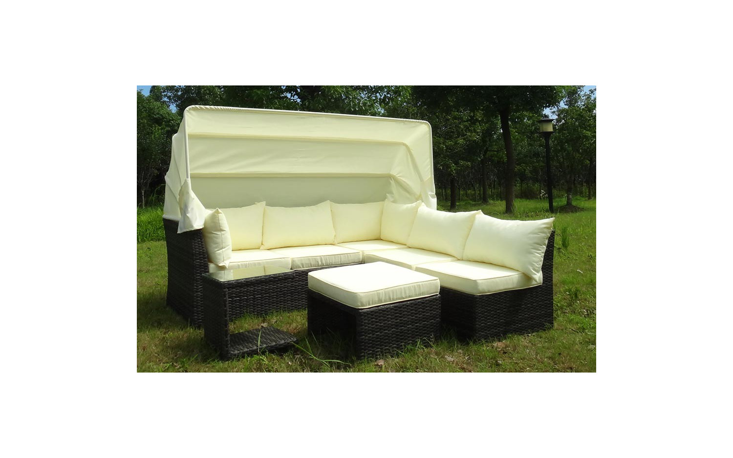 baidani rattan garten funktions lounge sofa weekend mit sonnendach baidani shop. Black Bedroom Furniture Sets. Home Design Ideas