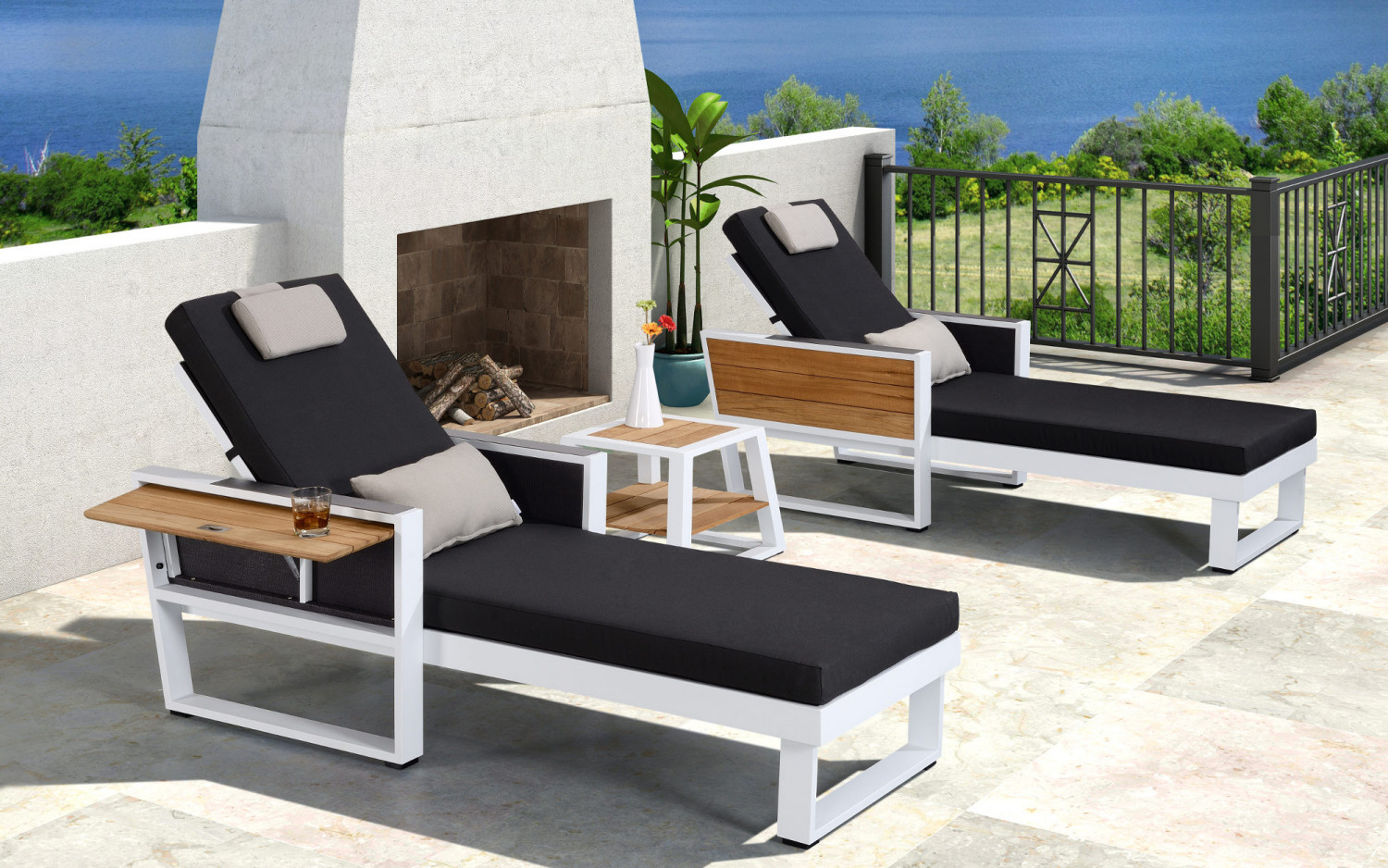 baidani alu garten lounge liege leros 2er set baidani shop. Black Bedroom Furniture Sets. Home Design Ideas