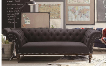 Excl. Baidani Designer Sofa PRESTON Chesterfield-Design anthrazit